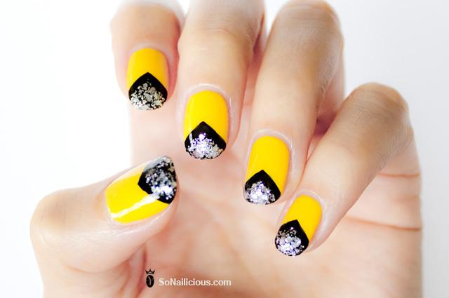 chevron-nails-with-black-and-yellow-nail-polish - Chevron-nails-with-black-and-yellow-nail-polish - SoNailicious