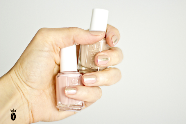 neutral beige and pink nail art essie
