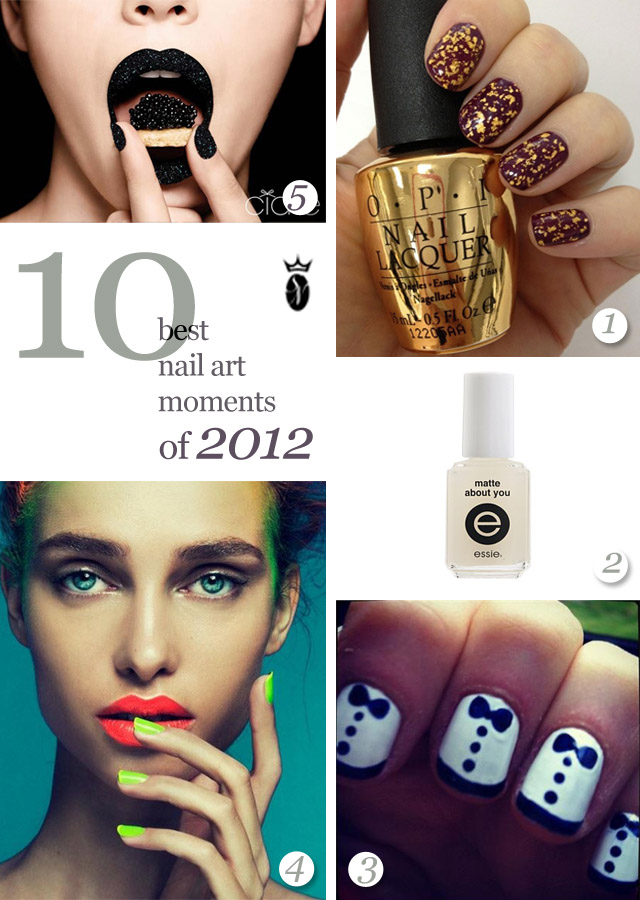10 best nail art of 2012, caviar nails, matte nails, neon nails