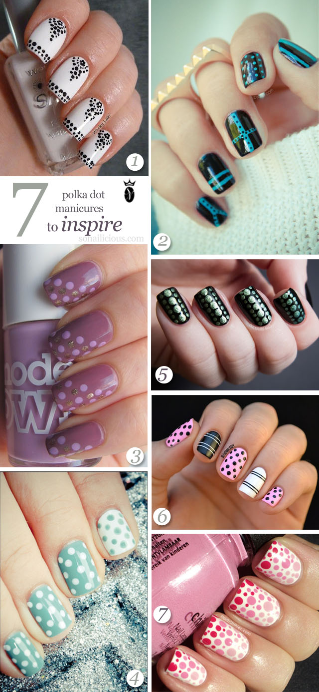 7 polka dot nail art designs