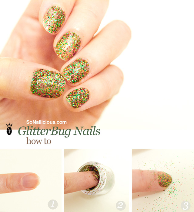 christmas glitter nails how to tutorial