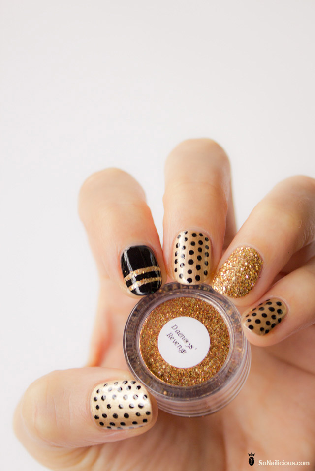 glitter polka dot mix and match nails