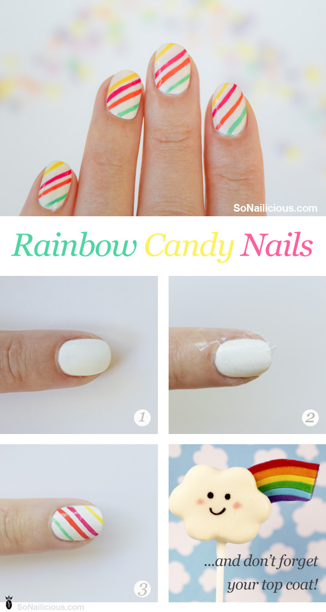 rainbow candy nails nail art how to