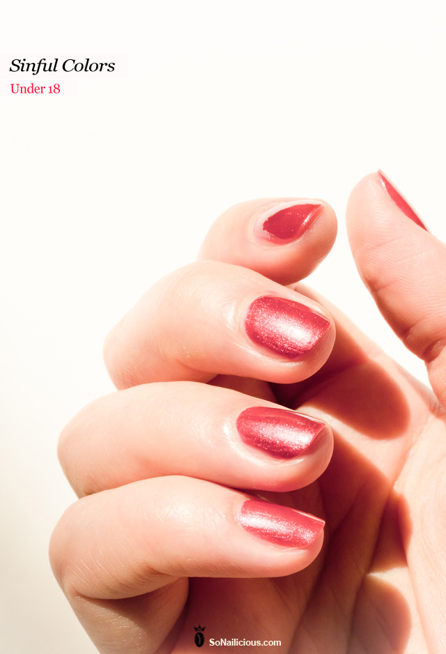 sinful colors, shimmering red nail polish