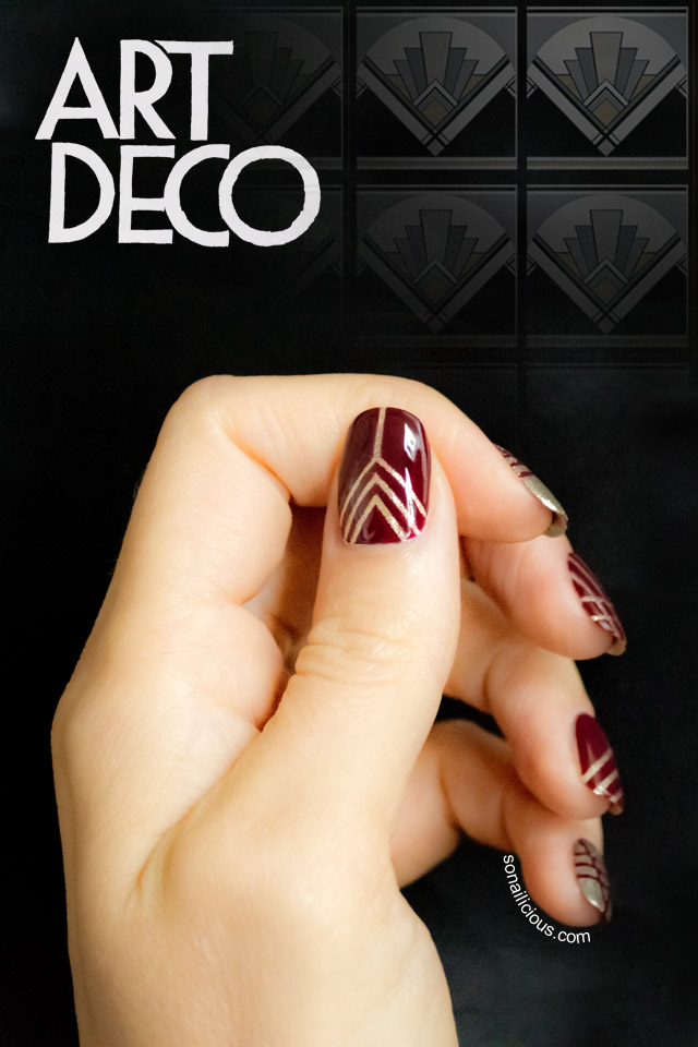 art deco nails, tape nail art
