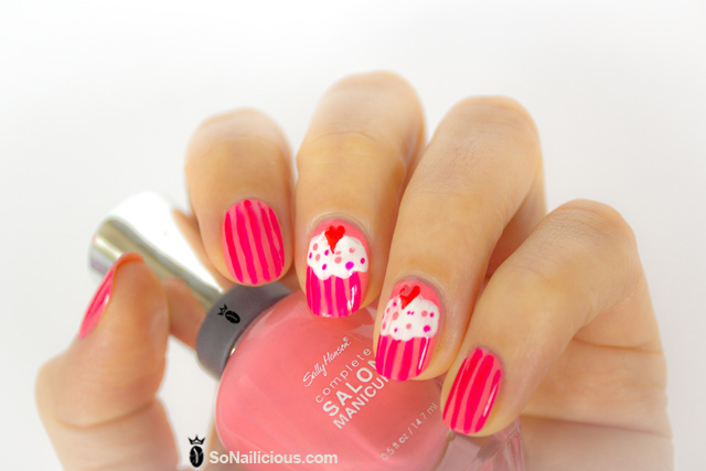 cupcake nails, sally hansen i pink i can