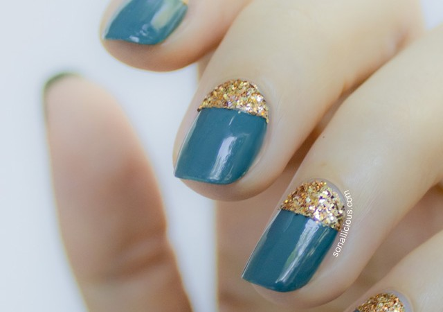 glitter moon nails
