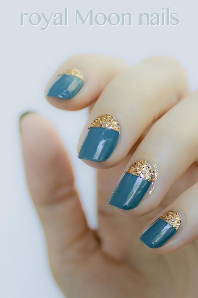 Royal Moon Nails with loose glitter - SoNailicious Nails - Day 20
