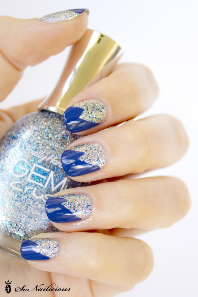 glitter nails, silver glitter