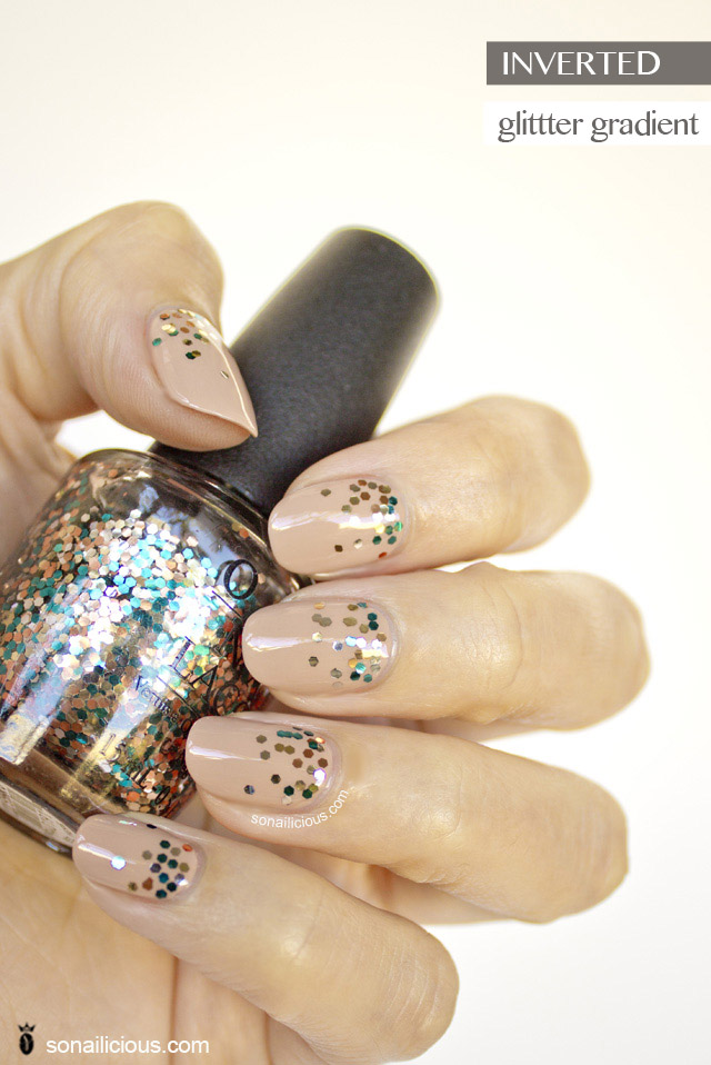 nude nails with glitter, opi the living daylights nail art