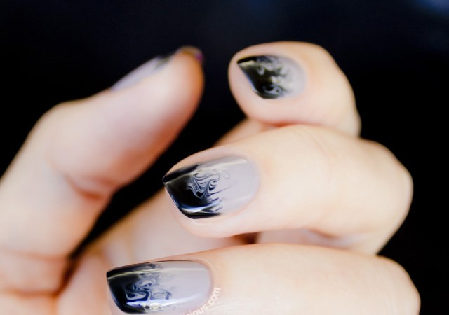 ombre nails, black and nude nails copy