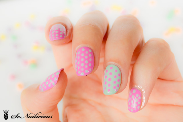 polka dot nails, pretty pink nails