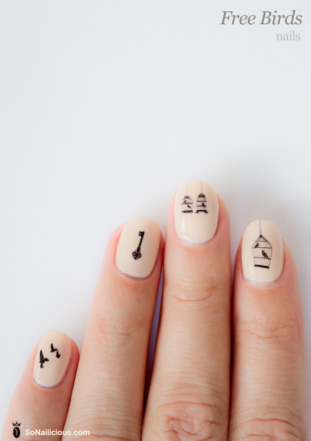 Free Bird Nails With Nail Decals: 28 Days Of SoNailicious