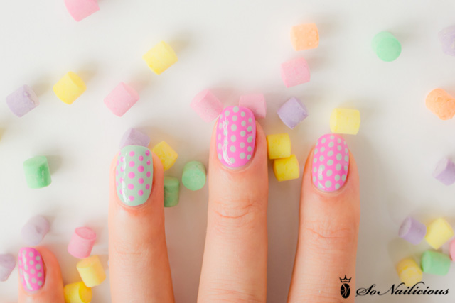 pretty polka dot nails, polka dot nail art