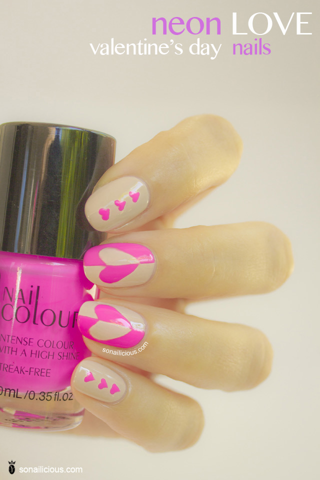 pretty valentines day nails, neon nails copy