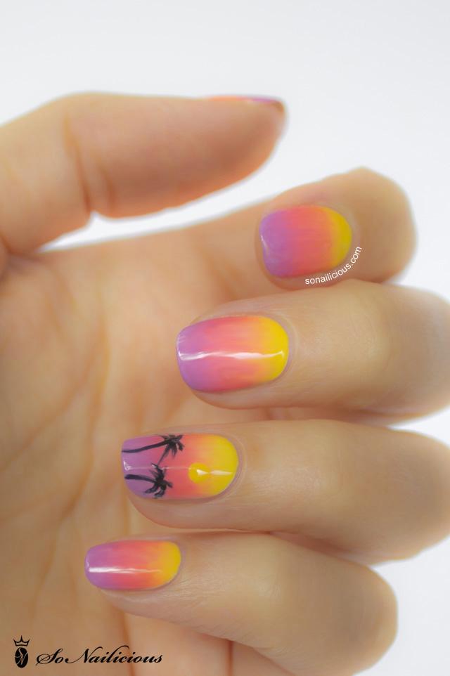Nail Art Ombre Sun Design