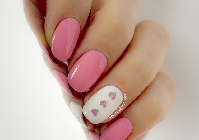 valentines day nails, pink