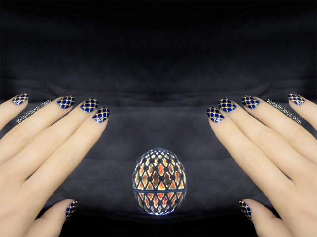 blue and gold nails with easter egg faberge egg
