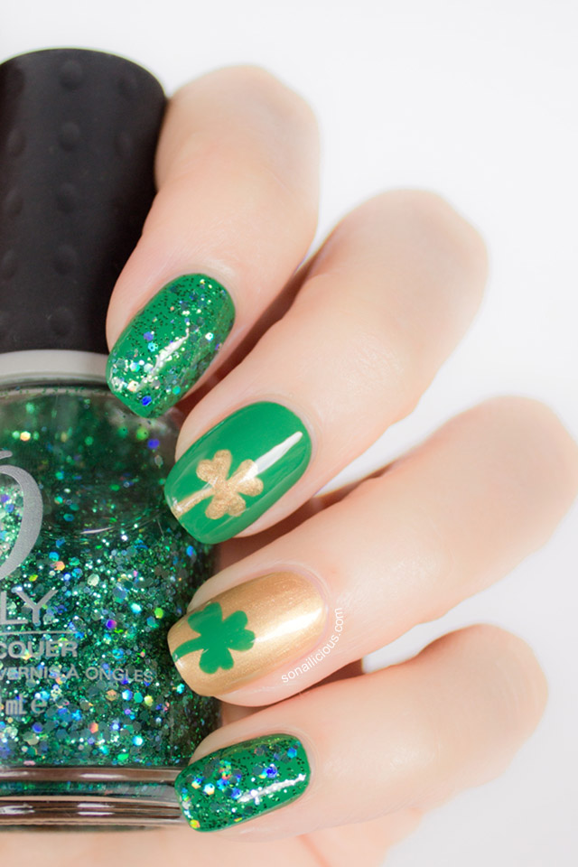 St patrick day nails and easy nail art tutorial green nails green glitter nails prinsesfo Gallery