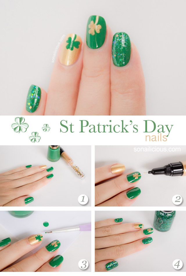 St Patrick Day nails and easy nail art tutorial