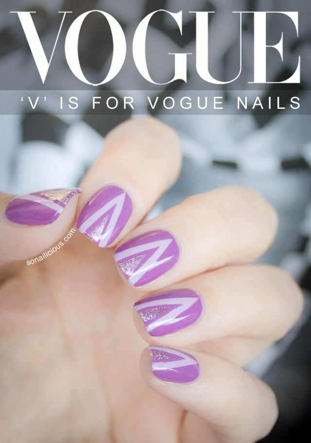 vogue nails, lilac nails, striping tape nail art