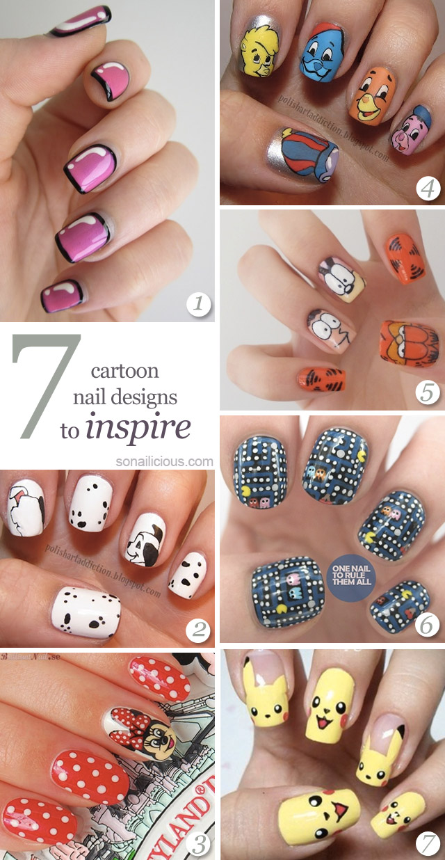 best cartoon nails, cute nails