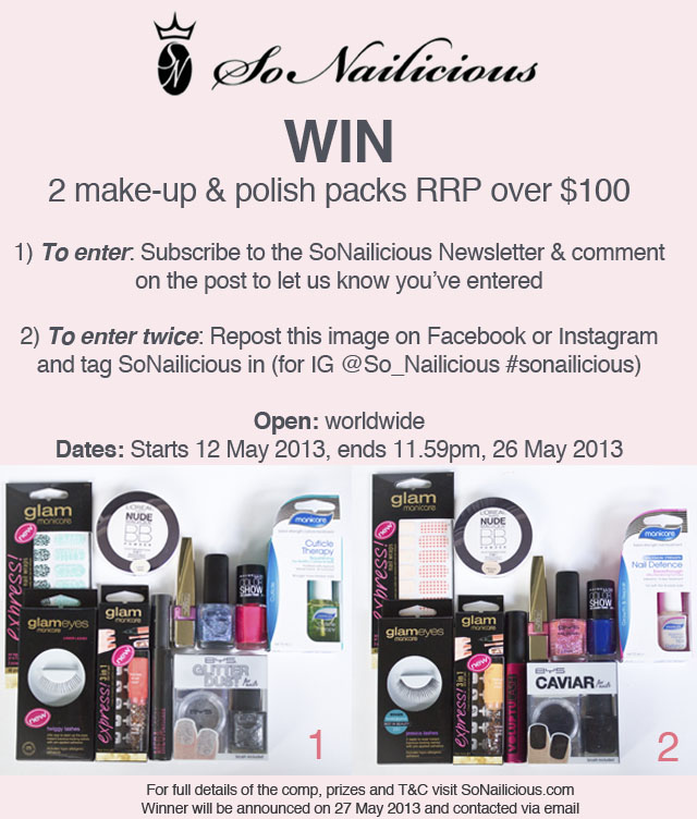 SoNailicious Giveaway - 2 makeup and nail polish packs - SoNailicious
