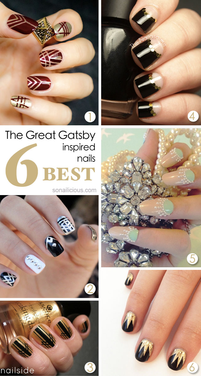the great gatsby nails, art deco nails