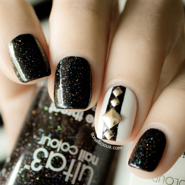 black and white nails with studs