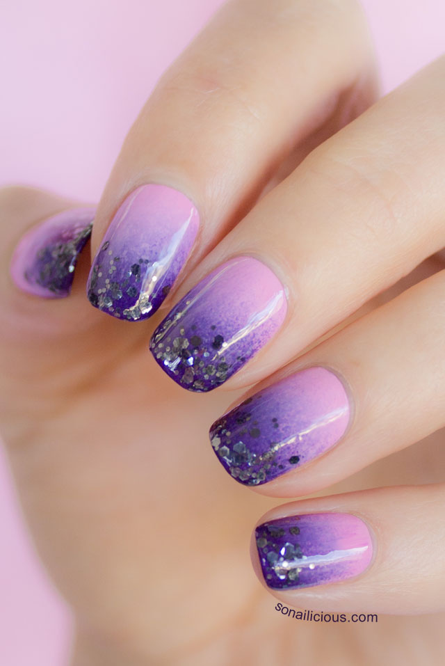 Orly atomic splash glitter gradient nail art purple glitter gradient 2 prinsesfo Gallery