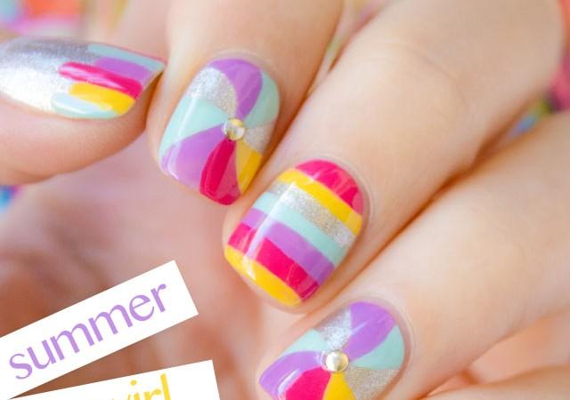swirl nails, cute nails