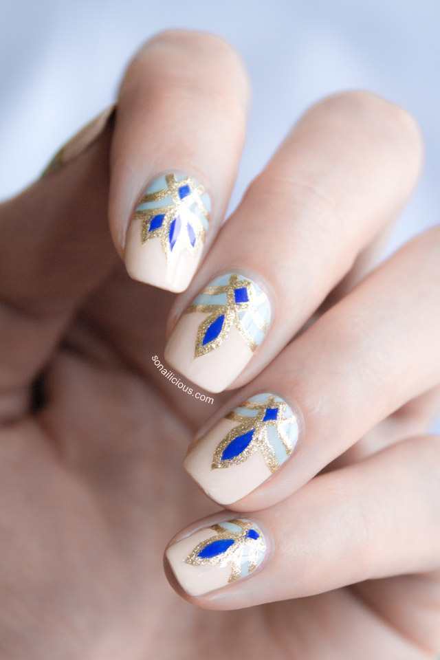 blue and gold nails