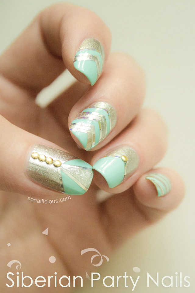 silver and mint nails, party nails