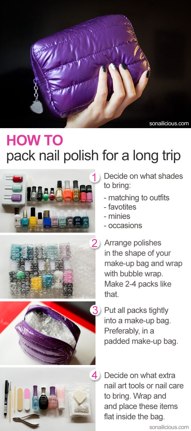 how to pack nail polish for travelling