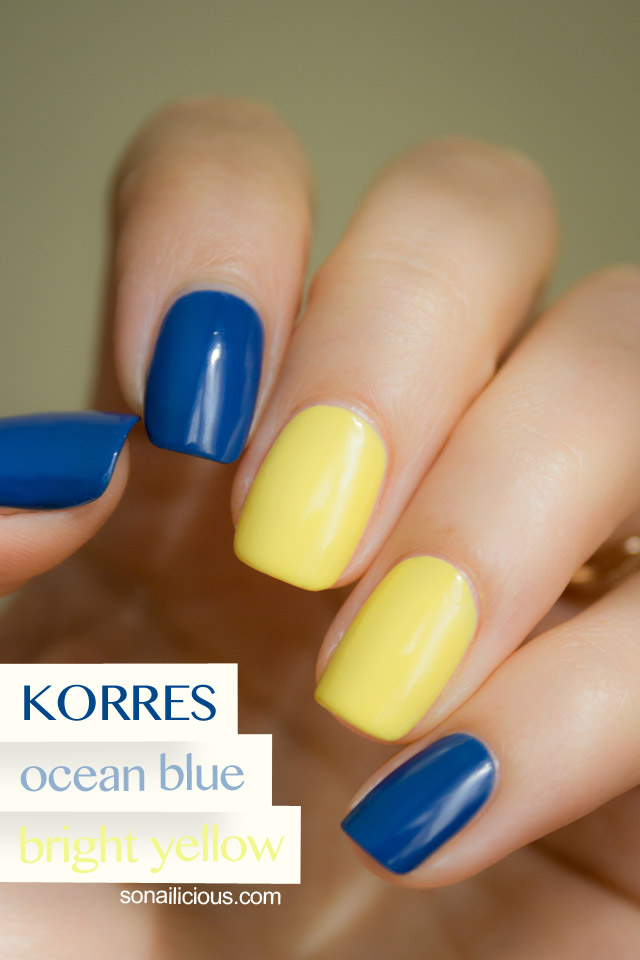 Korres Nail Polish - Ocean Blue and Bright Yellow - Review