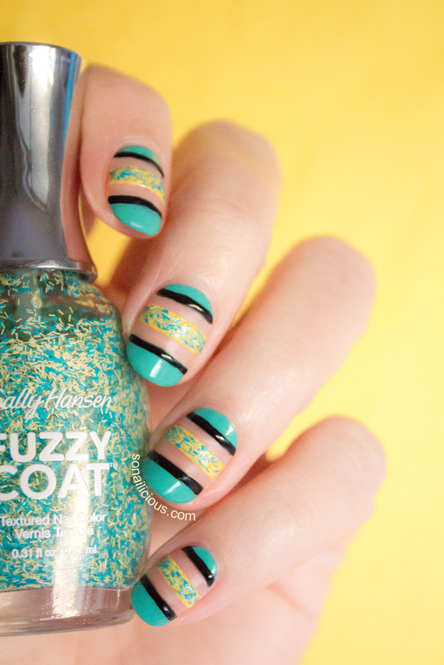 5 Nail Art Designs with Sally Hansen Fuzzy Coat - Look3 Negative Space