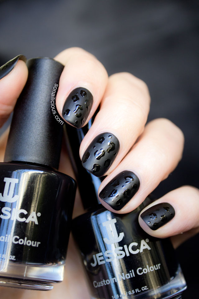 Jessica black beauties, black matte nails