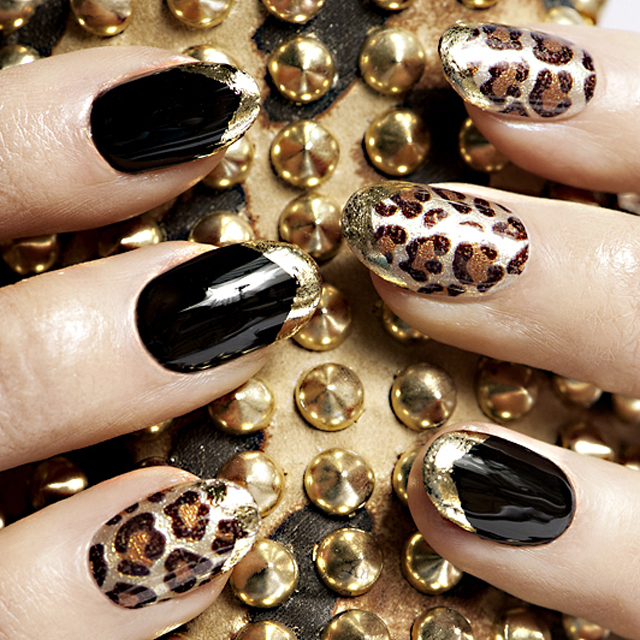 beautiful leopard print nails