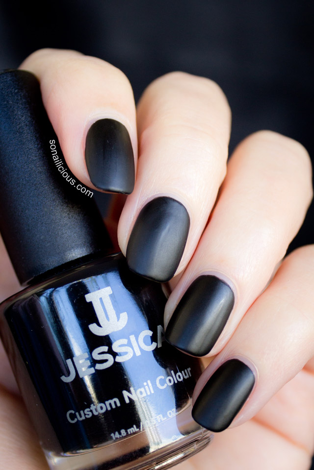 jessica cosmetics black matte nail polish 1