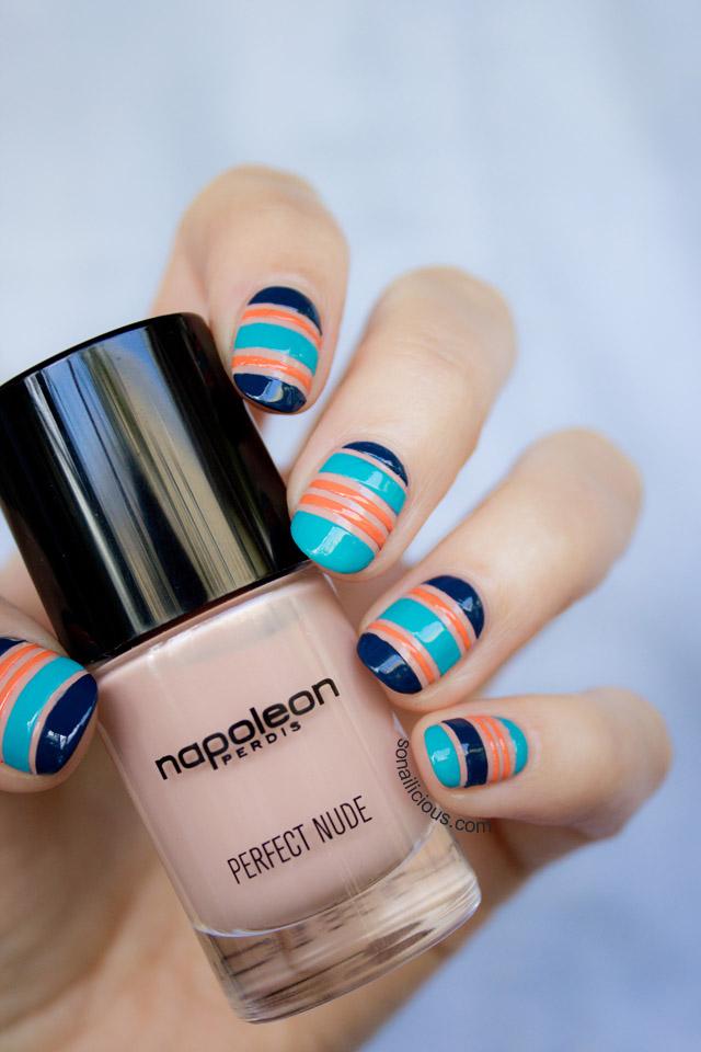 nautical nails, navy nails