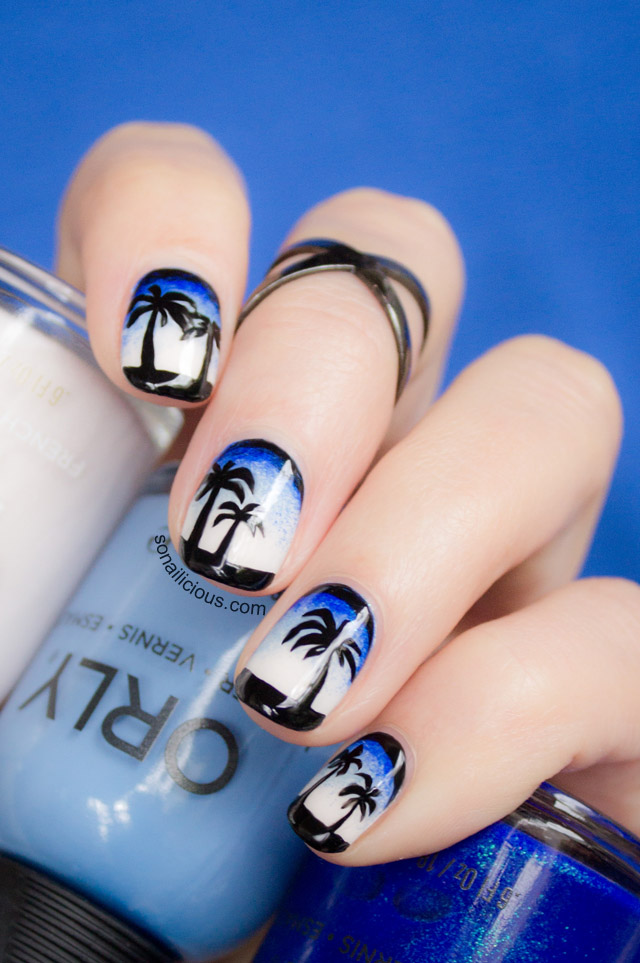 Nails With Palms Orly In The Navy Snowcone And Softest White