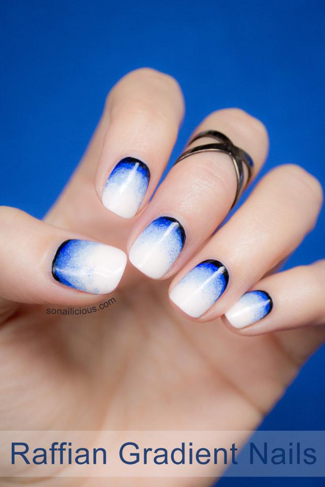 raffian nails, blue gradient nails