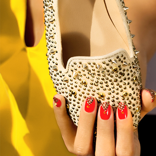 red nails with gold studs steve madden studded shoes