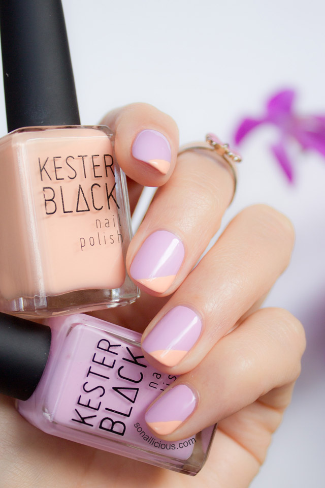 spring nails, lilac nails, kester black