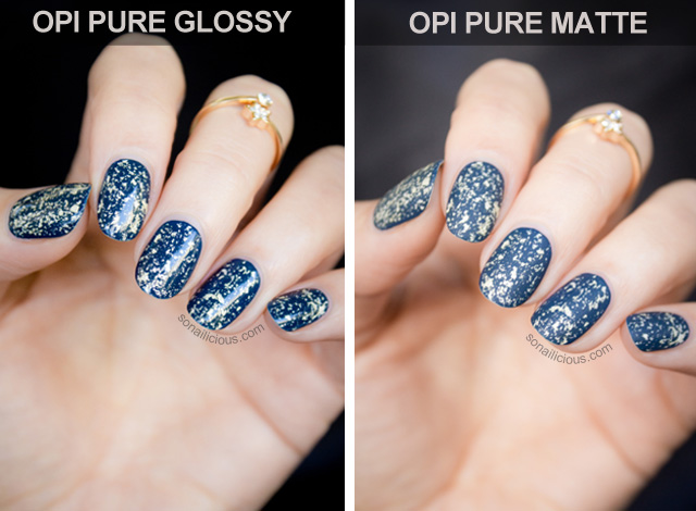 OPI mariah carey pure gold matte glossy comparison