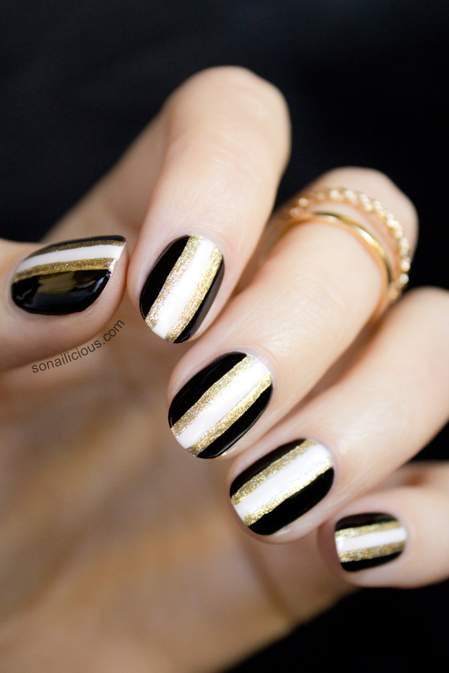 black and gold new years nails - Black And Gold New Years Nails - 2013 Version