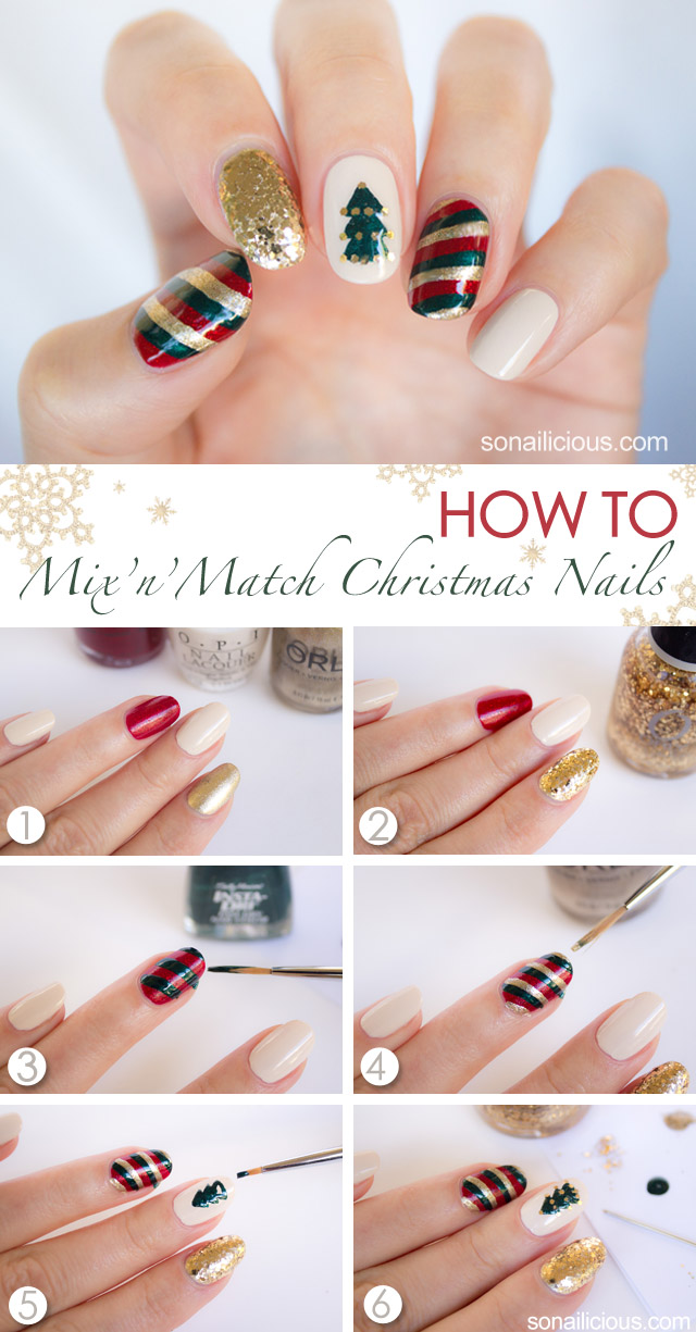 Mix'n'Match Christmas Nail Art Tutorial