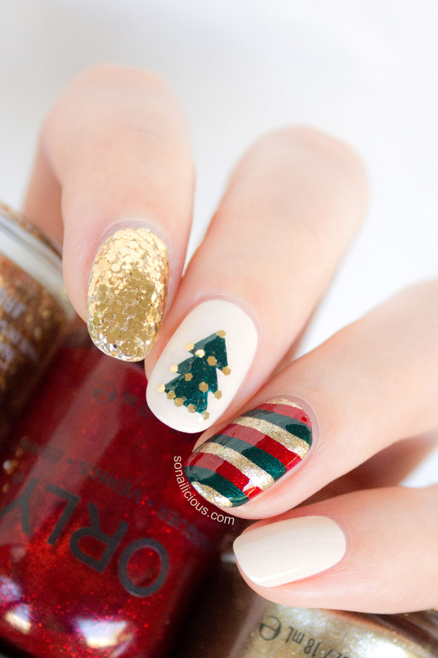gold glitter christmas nail art