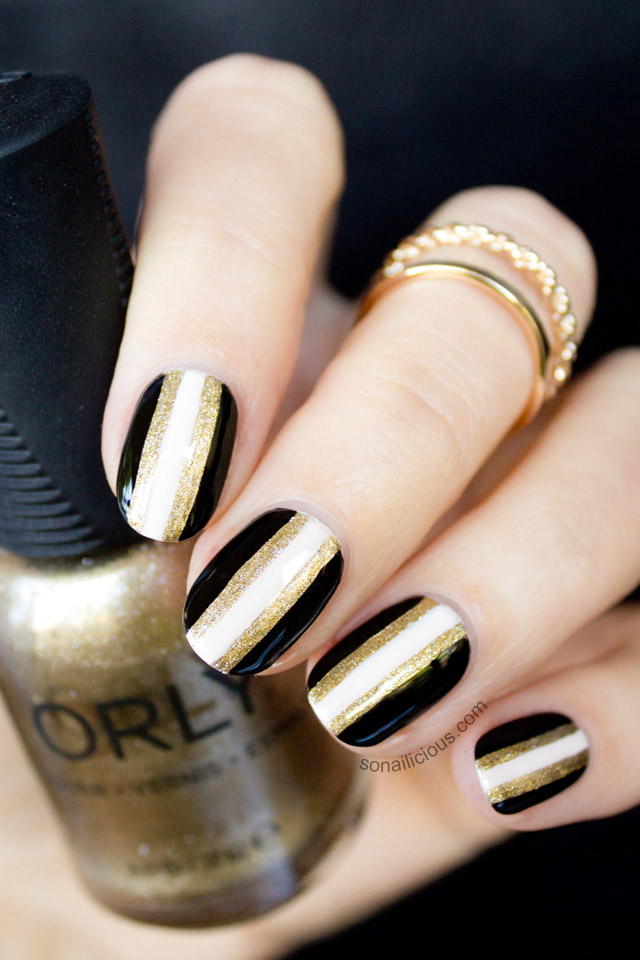 Black and Gold New Years Nails - 2013 Version