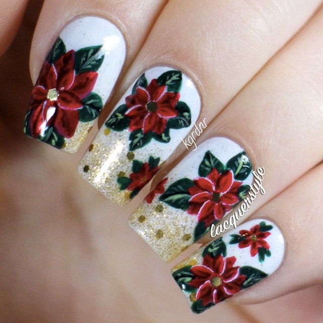 Poinsettia nails by @kgrdnr